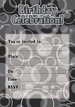 Black Glitz Happy Birthday Party Invitations - Pack of 16