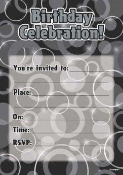 Black Glitz Happy Birthday Party Invitations - Pack of 16