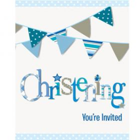 Christening Blue Bunting Party Invitations Pk8