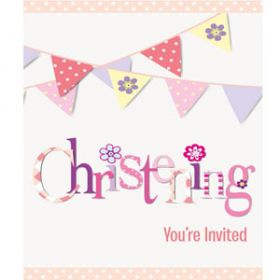 Christening Pink Bunting Party Invitations Pk8