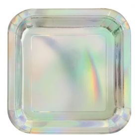 Iridescent Foil Square Plates 18cm, pk8