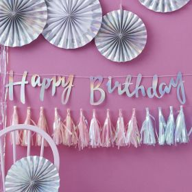 Iridescent Party ''Happy Birthday'' Bunting 1.5m