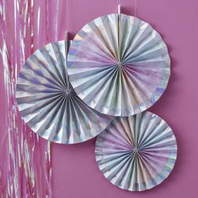Iridescent Party Rainbow Fan Decorations, pk3