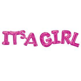 "Pink ""It's a Girl"" Phrase Balloon 20"" x 9"""