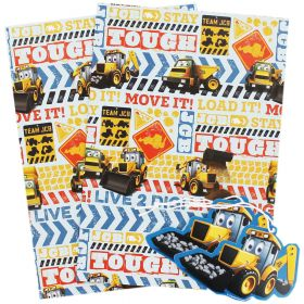 JCB Gift Wrap With 2 Tags