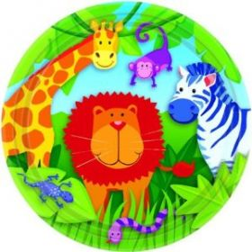 Jungle Animals Party Plates, 17.7cm, pack of 8
