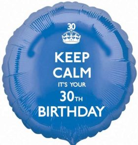 "Keep Calm It's Your 30th  Birthday 17"" Foil Balloon"