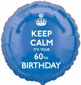 "Keep Calm It's Your 60th  Birthday 17"" Foil Balloon"