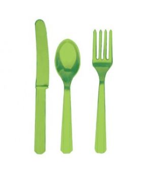 Kiwi Green Re-usable Plastic Cutlery, Assorted 24 pack