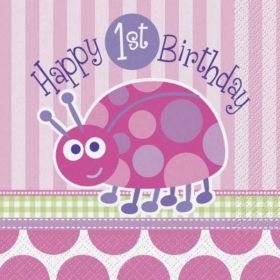 1st Birthday Ladybug Party Luncheon Napkins 16pk