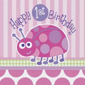 1st Birthday Ladybug Party Luncheon Napkins 16pk