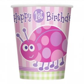 1st Birthday Ladybug Party Paper Cups 8pk