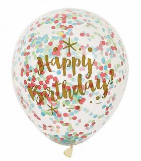 Glitzy Gold Birthday Balloons with Confetti pk6