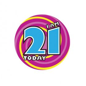 Large 21 Birthday Badge