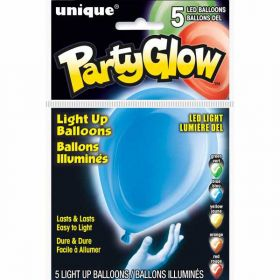 Assorted Primary Colours Light Up Balloons pk5
