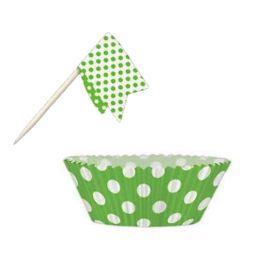 Lime Green Polka Dot Cupcake Kit, 24pc