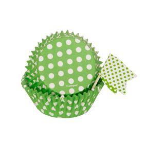 Lime Green Polka Dot Cupcake Kit