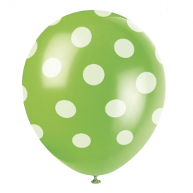Lime Green Polka Dot Latex Balloons 12""