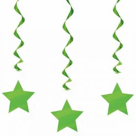 Lime Green Swirls with Stars Hanging  Party Decorations x 3
