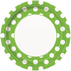 Lime Green Polka Dot Dinner Plates