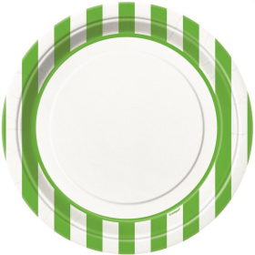 Lime Green Striped Plates