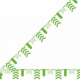 Lime Green Dots, Stripes & Chevron Pennant Banner