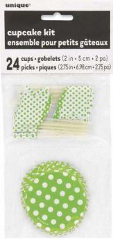 24pc Lime Green Polka Dot Cupcake Kit