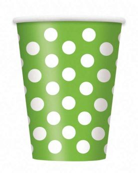 Lime Green Polka Dot Party Paper Cups 6pk