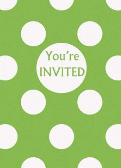 Lime Green Polka Dot Party Invitations 8pk