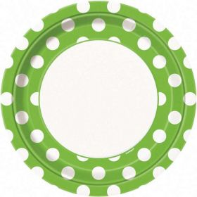 "Lime Green Polka Dot 9"" Party Paper Plates 8pk"