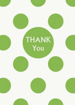Lime Green Polka Dot Party Thank You Cards 8pk