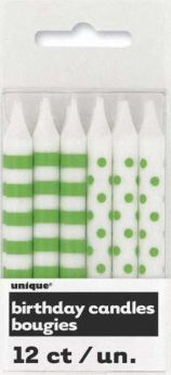Lime Green Stripe & Dot Birthday Candles, 12 Pack