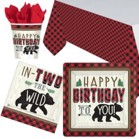 Little Lumberjack 2nd Birthday Party Tableware Pack for 8