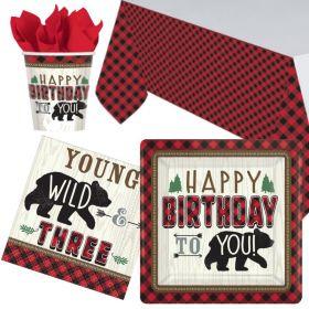 Little Lumberjack 3rd Birthday Party Tableware Pack for 8