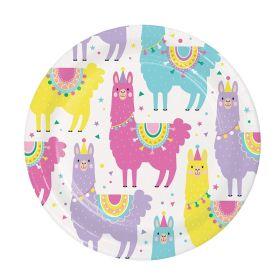 Llama Pastel Party Dessert Plates 18cm, pk8