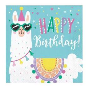 Llama Pastel Party Happy Birthday Napkins 33cm x 33cm, pk16