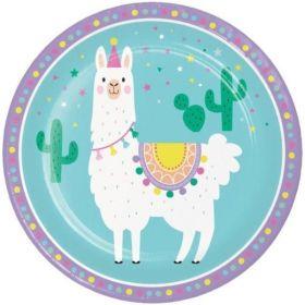 Llama Pastel Party Dinner Plates 23cm, pk8