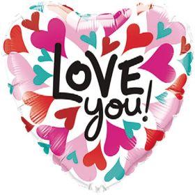 "Love You Converging Hearts Foil Balloon 18"""