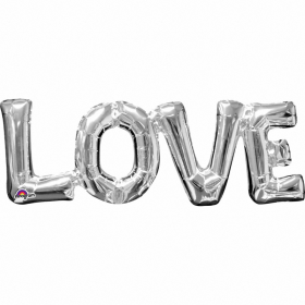 "''Love"" Phrase Silver Supershape Foil Balloon"