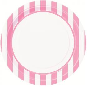 Lovely Pink Striped Plates 23cm, pk8