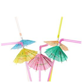 Luau Umbrella Party Straws, pk25