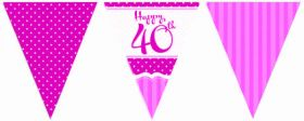 Perfectly Pink 40th Birthday Flag Banner