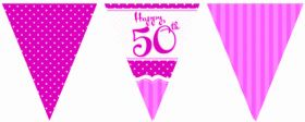 Perfectly Pink 50th Birthday Flag Banner
