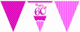 Perfectly Pink 60th Birthday Flag Banner