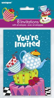 Mad Hatter Tea Party Invites pk8