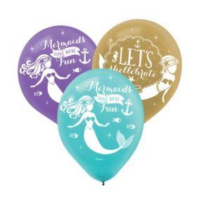 "Mermaid Wishes Latex Balloons 11"", pk6"