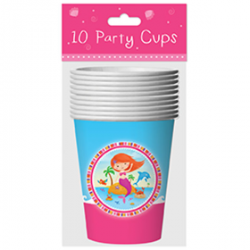 Mermaid Party Cups pk10