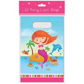 Mermaid Plastic Party Loot Bags pk10