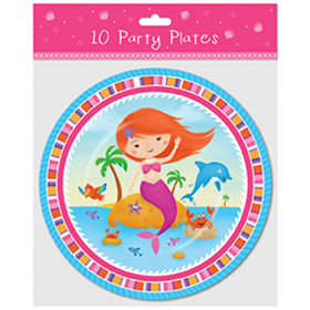Mermaid Paper Party Plates pk10