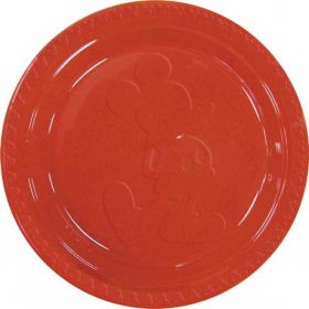 Mickey Mouse Embossed Party Plates Red 23cm 6pk